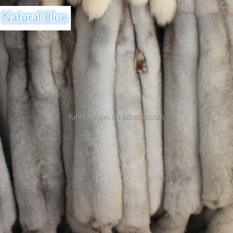 Wholesale Genuine Natural Blue Fox Fur Pelts for Women Winter Parka Hood with Low Prices