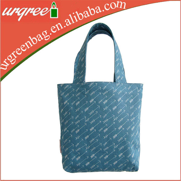 Light Blue Cotton Foldable Shopping Bag With Adorable Arrow Printing