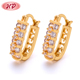 Wholesale Dubai 22K Gold Jewelry Fashion Luxury Double Side Beautiful Earrings for Girls