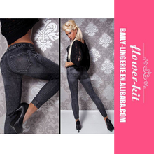 Fashion Lady Sexy Denim Jeans Look Printed Slim Leggings