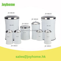8pcs set slim cainster coffee bean bin with rubbish bin