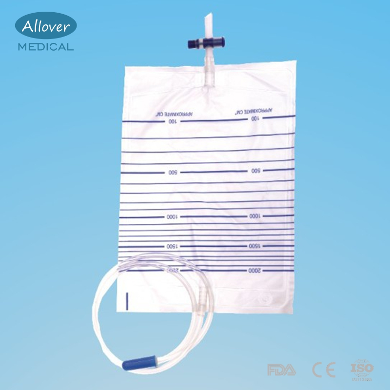 Disposable Adult 2000ml Cross Valve Urine Collection PVC Bag