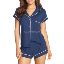 pajamas women wholesale summer 100% cotton jersey shorty pajamas sets high quality short sleeve v neck pockets korea pajamas