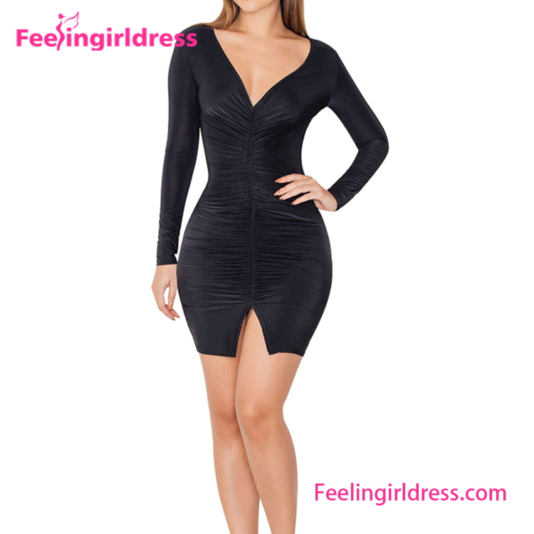 Black V-neck Slim Fit Plunging Ladies Western Dress Designs