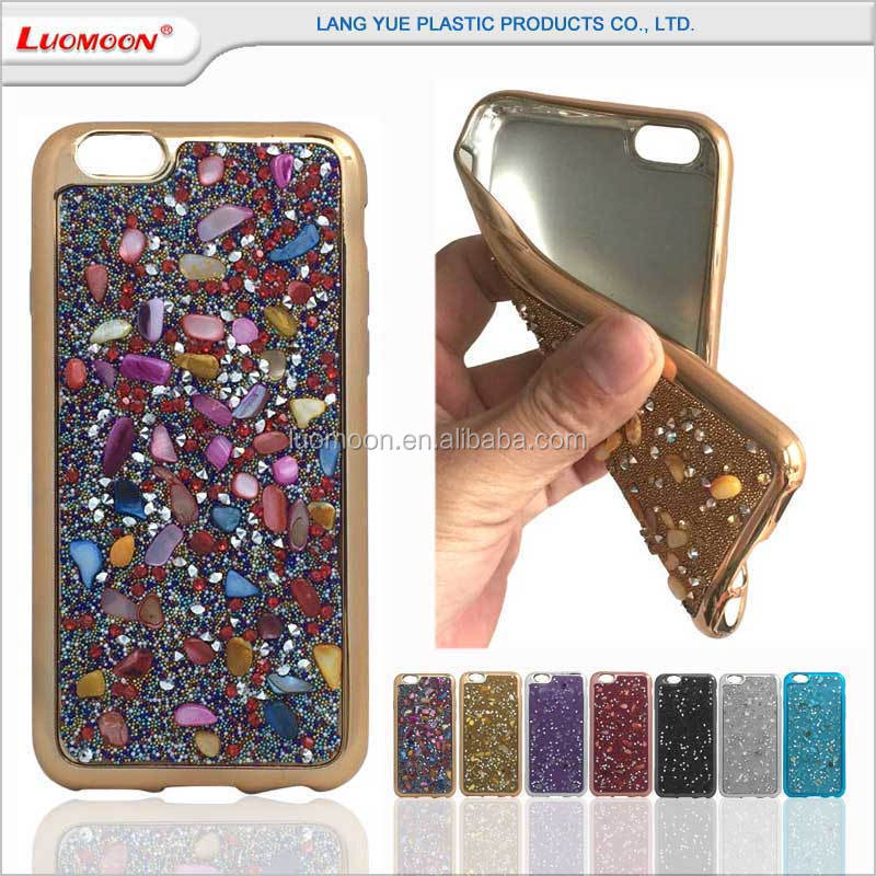 glitter bling diamond+stone phone electroplating cover case for iphone S C SE plus 4 5 6 for Motorola Moto X G E Z Turbo Droid 4
