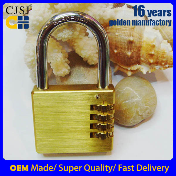 Produce 4 DIGITS 50mm combination long shackle brass padlock laminated