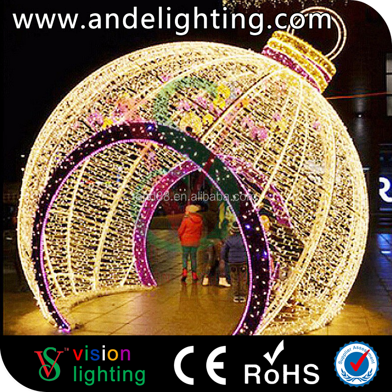 3d outdoor waterproof decorative crystal ball christmas led motif light