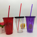 Hot sell 16oz Plastic insulated double wall glass