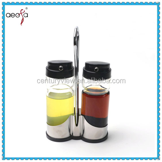 stainless steel condiment glass oval oil and vinegar bottle holders