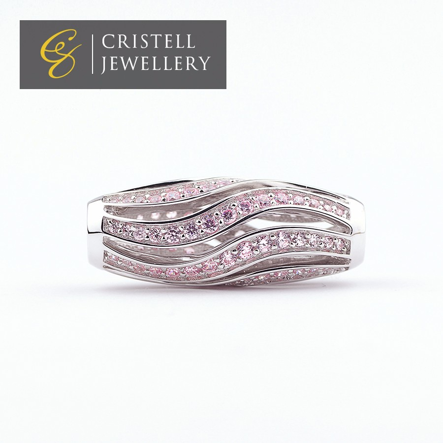 Platinum plated with pink cz stones 925 sterling silver bracelet tube charms beads jewelry perfect match wtih leather bracelet