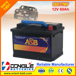 Super quality Global Battery korea 56077MF 12V 60Ah Auto Batteries