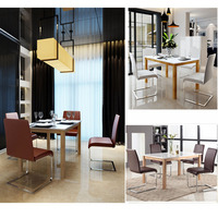 modern dining room furniture white hi gloss MDF dining table set