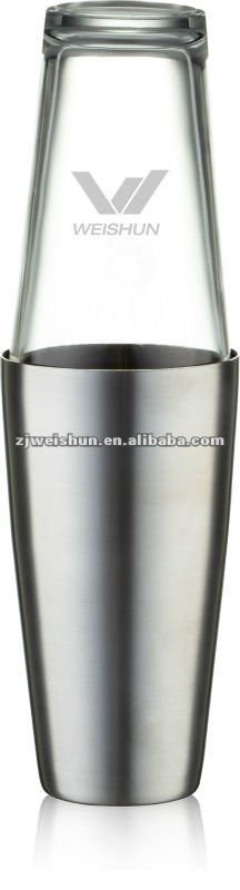 Stainless steel boston/cocktail shaker shaker with glass