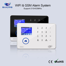 House alarm system with GSM+WIFI APP Control backup battery 88 Wireless zones pir door fire alarm
