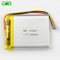 3.7v lithium ion lipo 1600mah li-ion battery 674051 3.7v 1600mah long type polymer battery for smart devices
