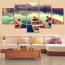 Multi Panel Sunset Landscape Group Painting Canvas Print