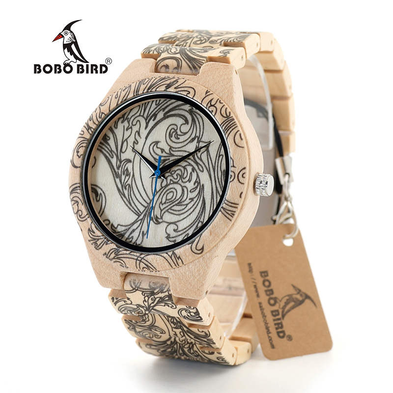 BOBO BIRD 2017 Top Brand Wooden Quartz Wristwatches Mens Watches Top Brand Luxury Hour With UV Printing Tattoo Fashion Accessory