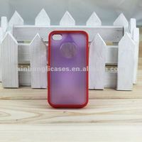 Latest Transparent PC+TPU cell phone Cases / clear back cover for iPhone 4/4S with Circle Hole,protective case for phone