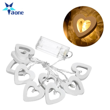 Wholesale Cheap Heart Shaped Wooden Flashing String Fariy Lights Outdoor Christmas Wedding Decoration Ornaments