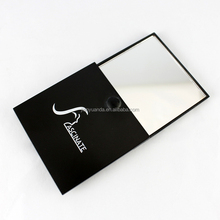promotion black makeup mirror / beauty slide cover cosmetic mirror / cheap pocket mirror with print