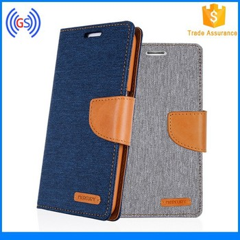 For Samsung Galaxy S6 Edge Mercury Canvas Wallet Leather Phone Case