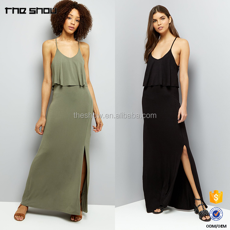 OEM Manufacturer Ladies Layered Cross Strap Back Maxi Dreses Woman Dresses