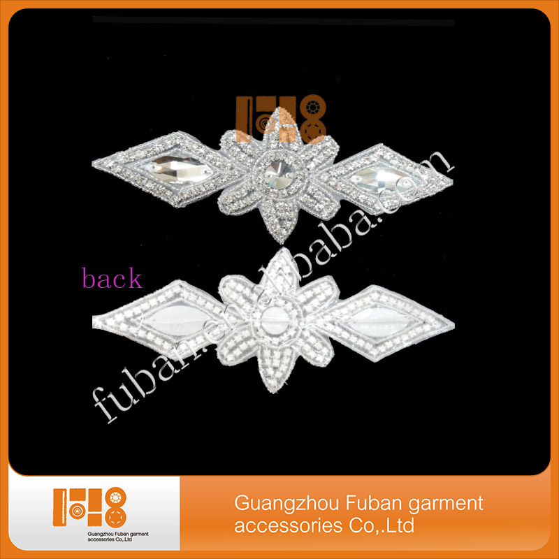 Fashion cheap crystal appliques crystal wedding sash applique for wedding dresses
