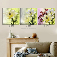 Modern Art Paintings 3 Piece Living Room Wall Decoration White Yellow Lily Flower Painting Photo to Canvas Print Cuadros Lienzos