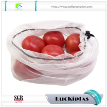 Reusable recycled RPET mesh vegetable fruit produce bag with drawstring closure