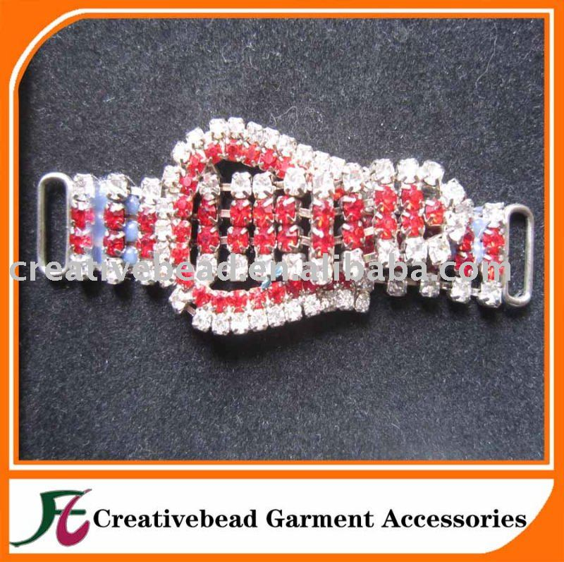 Hot selling clear and light siam rhinestone connector for bikini