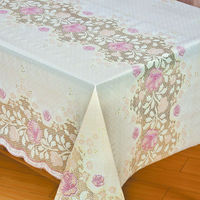 vinyl printed table cloth pvc floral lace design tablecloth