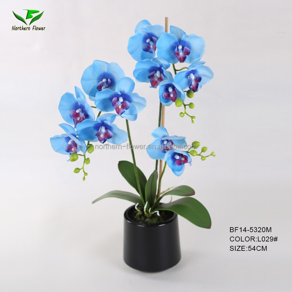 handmade blue artificial orchid flower wholesale