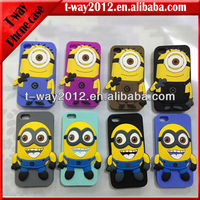 Despicable me minion silicone case for iphone 4 case