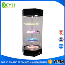 Automatic Rotating Clear Acrylic Jewelry Display Case with lock and key