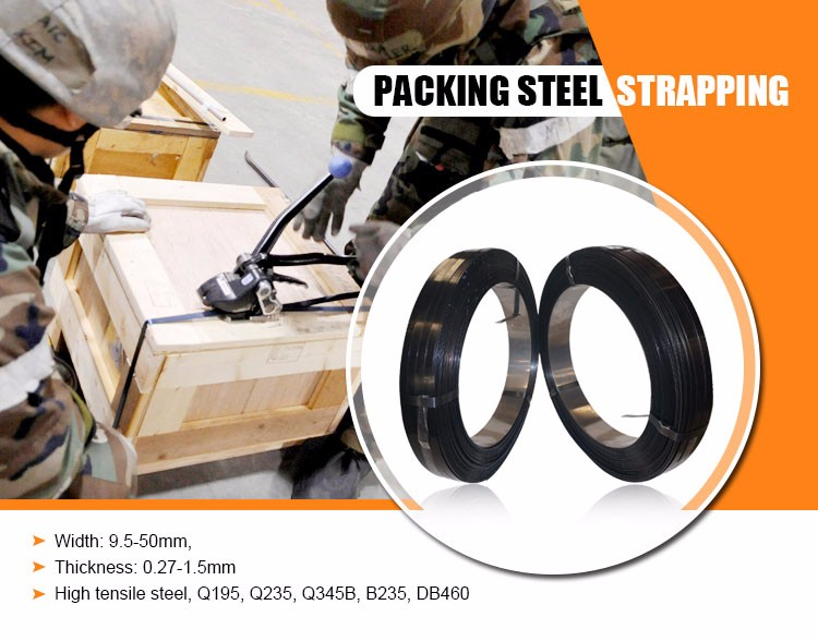 High quality black painted steel strapping for packing