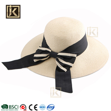 JIKIJIAYI custom light color large beach hats bowknot plain straw hats to decorate summer cheap lady hat