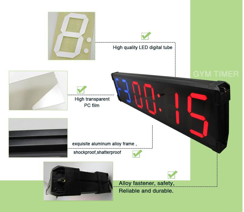 [Ganxin] 8inch 6digit high quality gym equipment led sport timer countdown digital interval timer