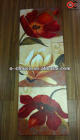 WK-70 Modern Hand Painted Art Flower Canvas Painting 3 Panel