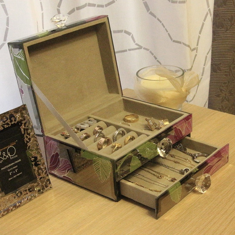 Home Decorative Box Glass Jewelry Box Trinket Box jewellery set