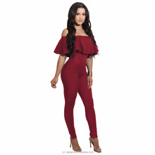 sexy jumpsuits club wear red and black rompers jumpsuits women 2017