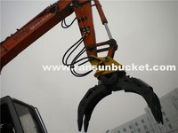 Manual and hydraulic five or seven fingers rotating grapple for excavator and backhoes