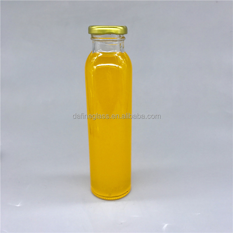 High quality 300ml straight side juice/beverage glass bottle for juice with twist off cap