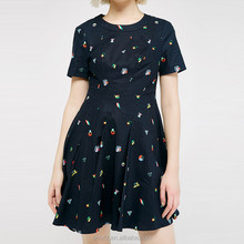 Anly latest fashion design linen printing fitness fold hem dress for ladies