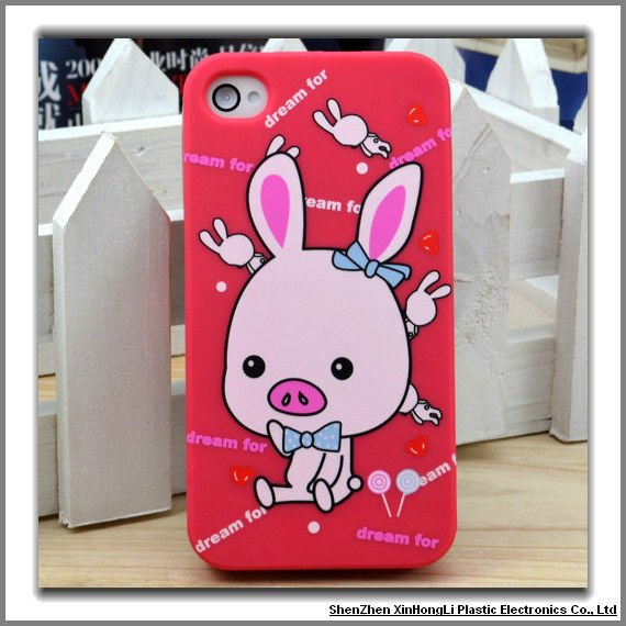 Cute pig design TPU phone cases for iphone 4s