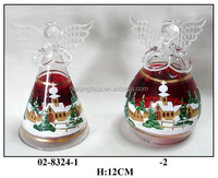 Handmade Clear Christmas Decoration Glass Hanging Angel with Christmas Painting