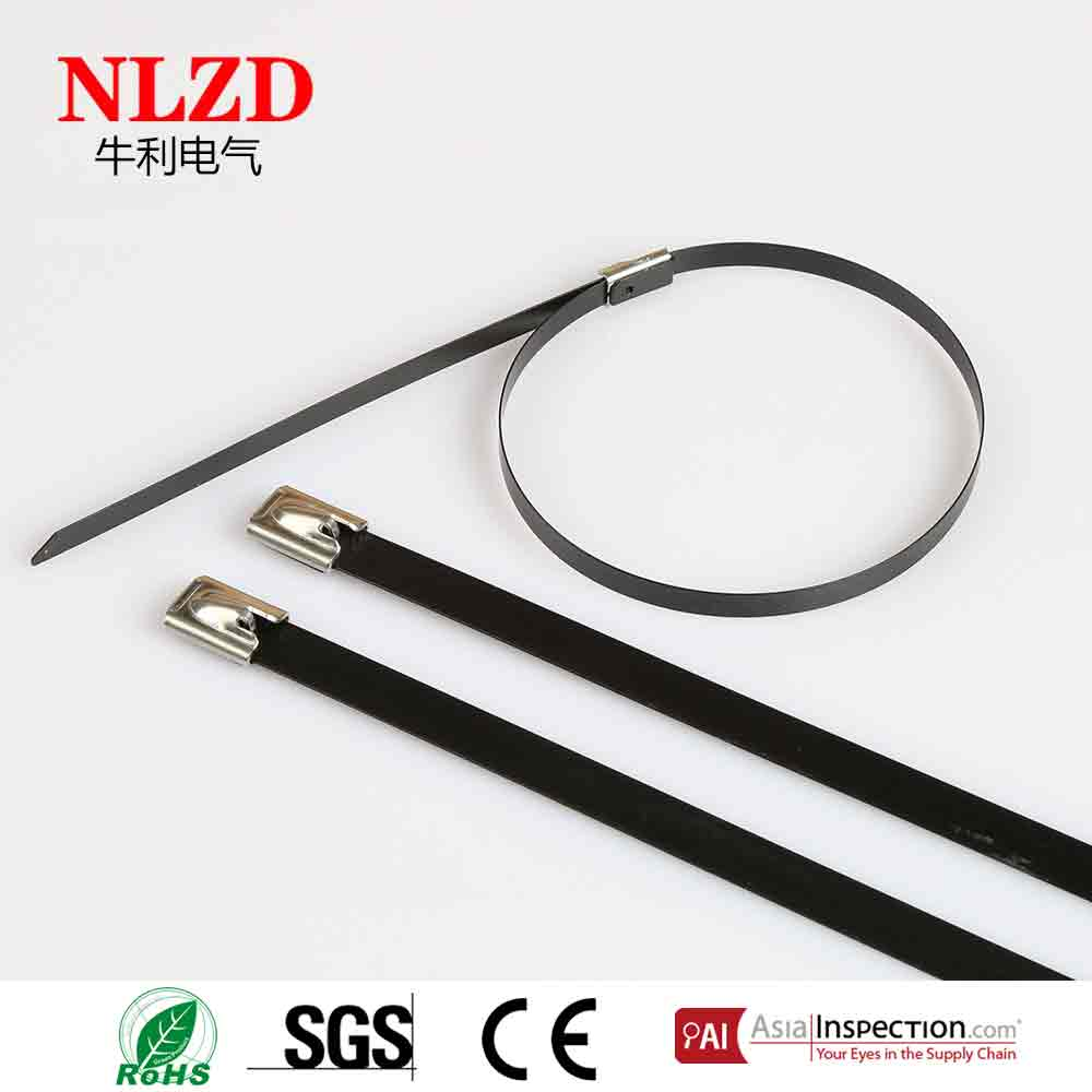 PVC black bled red coated 201 304 316 stainless steel cable tie ball lock type