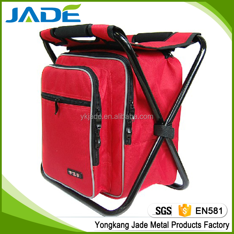 High quality low price foldable cooler bag chair,folding cooler fishing stool backpack for promotion