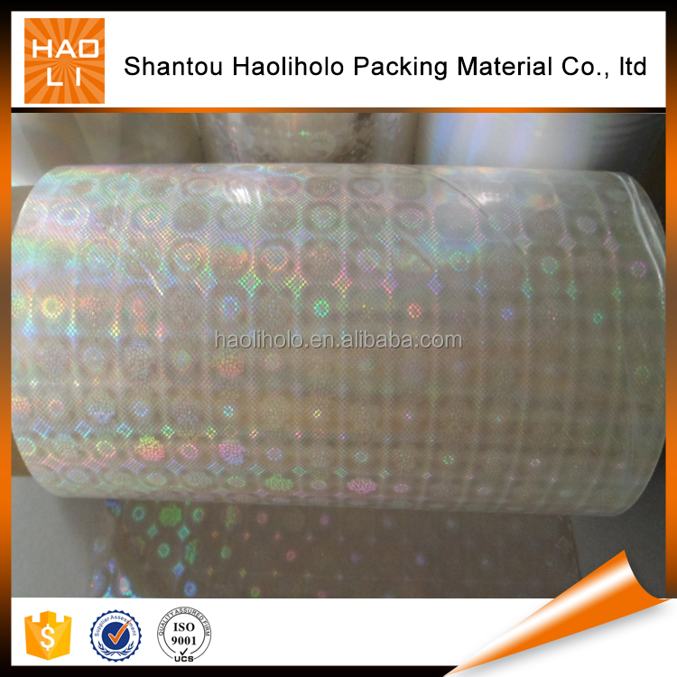 Customized designs transparent holographic film for lamination /printing