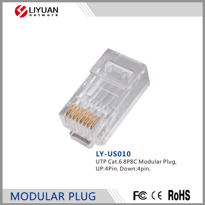 LY-US010 UTP Cat.6 8P8C Modular Plug Modular LAN Network Connector Internet RJ45 Plug