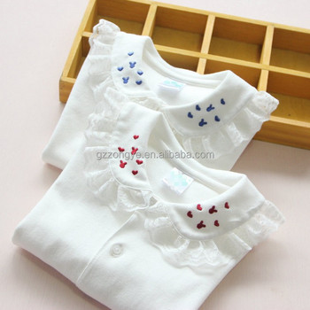 2015 new children's clothing baby girls cotton long-sleeved shirts children bottoming thin section lapel tops OEM supply